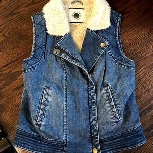Anthropologie Denim Jean Fur Lined Vest XS DotL